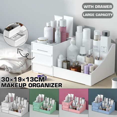 Dressing Box Cosmetic Organizer Makeup Organizer Transparent Desk Large Capacity Drawer Built-in Skin Care Products Lipstick Makeup Storage Box (White, Normal Quality)