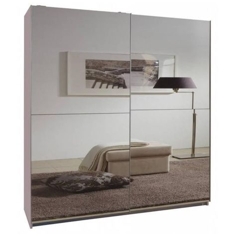 Dressing CLAPTON 135 cm portes coulissantes blanc / miroirs - blanc