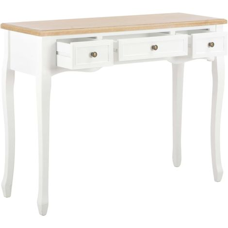 Dressing Console Table with 3 Drawers White