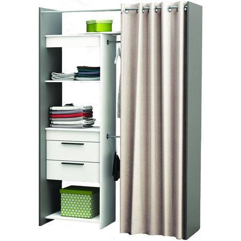 Dressing ouvert avec rideau et étagères Blanc et gris graphite, 112 x 209 x  50 cm -PEGANE-