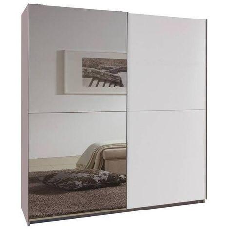 Dressing portes coulissantes CLAPTON 135 cm blanc / miroir - blanc