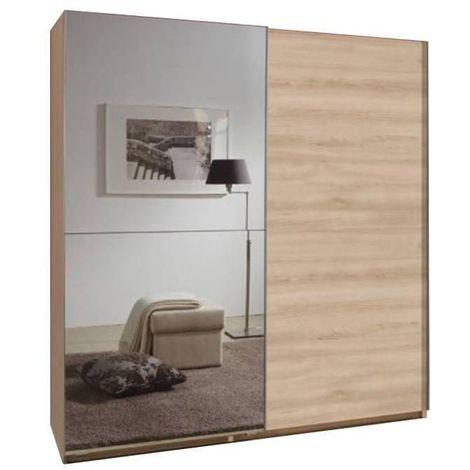 Dressing portes coulissantes CLAPTON 135 cm chêne / miroir - natural