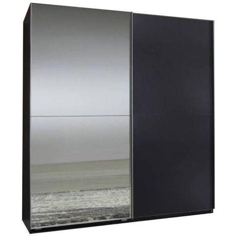 Dressing portes coulissantes CLAPTON 135 cm gris graphite / miroir - noir