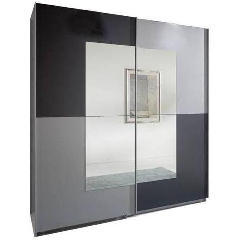 Dressing portes coulissantes JAGGER 179 cm coloris gris graphite / aluminium - bi color