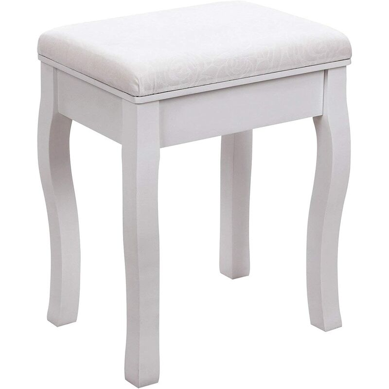 Phenomenal Dressing Stool Makeup Vanity Stool Padded Bench Chair With Rubberwood Legs 40 X 50Cm 130Kg White Rds50W Pdpeps Interior Chair Design Pdpepsorg