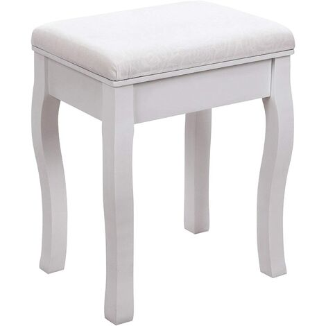 """main image of """"Dressing Stool Makeup Vanity Stool Padded Bench Chair with Rubberwood Legs,40 x 50cm,130kg White RDS50W - White"""""""