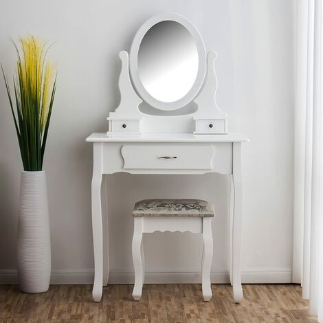 Dressing Table 3-Drawer with Stool & Oval Mirror