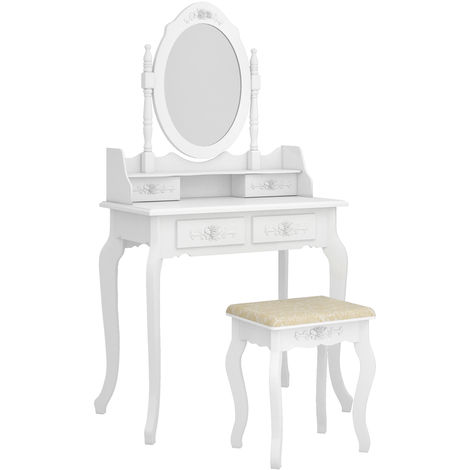 Dressing Table 4-Drawer Makeup 360-Degree Rotation Removable Mirror Dresser