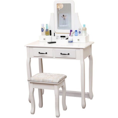 Dressing table 4 drawers mirror 6 compartments storage box stool 75 * 40 * 130CM