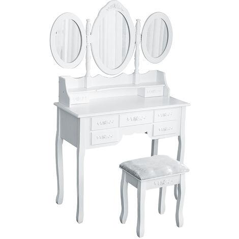 Dressing table 7 drawers 3 folding mirrors stool 90 x 40 x 148 cm Large dresser Make-up table