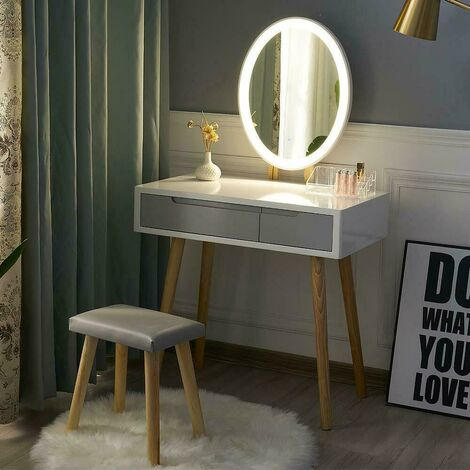 Dressing Table and Mirror Furniture Makeup Vanity Table with Wooden Cushioned Stool Set