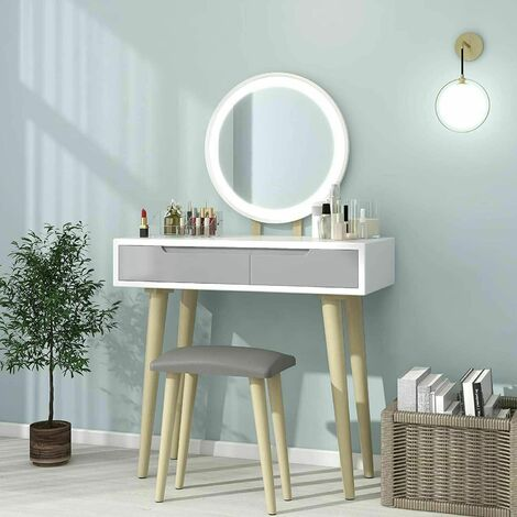 """main image of """"Dressing Table and Mirror Furniture Makeup Vanity Table with Wooden Cushioned Stool Set"""""""