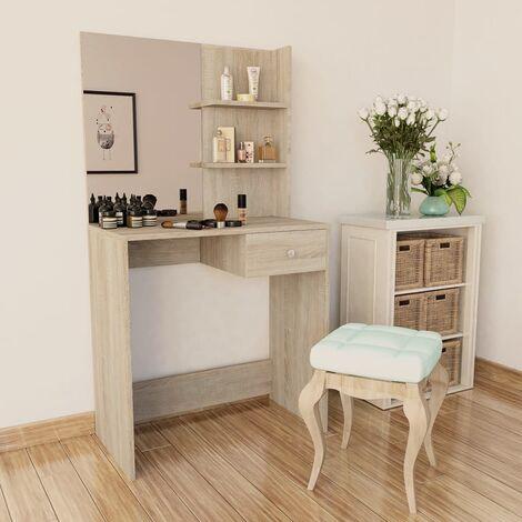 Dressing Table Chipboard 75x40x141 cm Oak - Brown