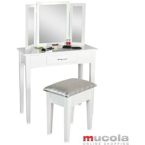 Dressing table Cosmetic table Stool Mirror Dressing table white
