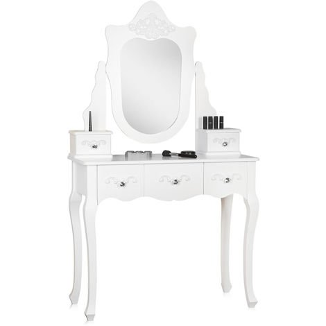 dressing table cosmetic table white antique mirror wood cosmetics