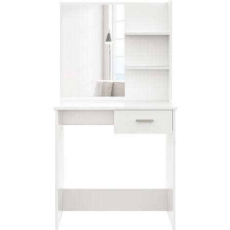 Dressing Table Desk With Drawer Shelves Make up Table Stool Vanity Set White
