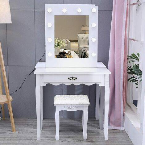 Dressing table - dressing table mirror, makeup table, vanity table - white