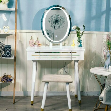 Dressing Table LED Light Dimmable Makeup Table with Round Mirror and Stool, Makeup Table with 2 Sliding Drawers