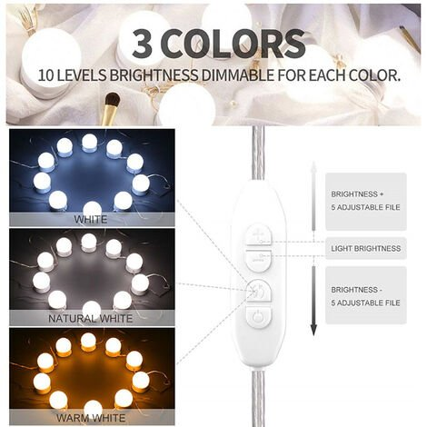 """main image of """"Dressing Table Light, LED Dressing Table Lamp (3 Color + 10 Brightness), Hollywood Style Vanity Mirror Lights with USB Powered 10 Dimmable Bulb for Mirror, Makeup, Bathroom"""""""