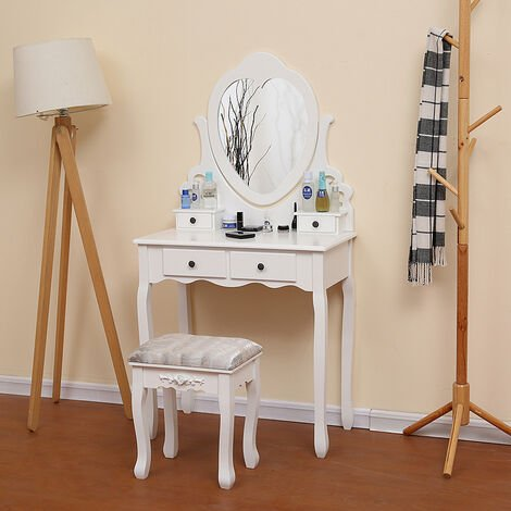 Dressing Table, Make-up Table, with 1 Swivel Mirror, 4 Drawers, 1 Stool, White 75 × 40 × 138cm