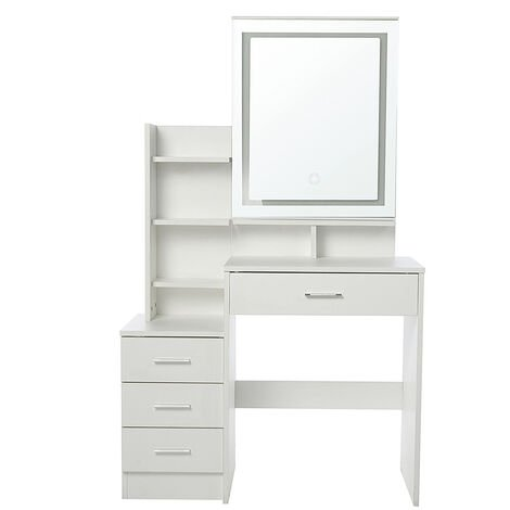 Dressing Table Makeup Desk With LED Light Makeup Mirror Four Drawer Without Stool White