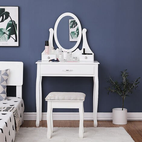 Dressing Table, Makeup Table - with 1 Mirror 3 Drawers and Stool - 137 x 80 x 40 cm
