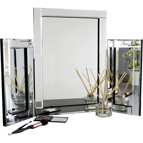 "main image of ""Dressing Table Mirror Luxury Glass Bedroom Vanity Free Standing Tri Fold"""