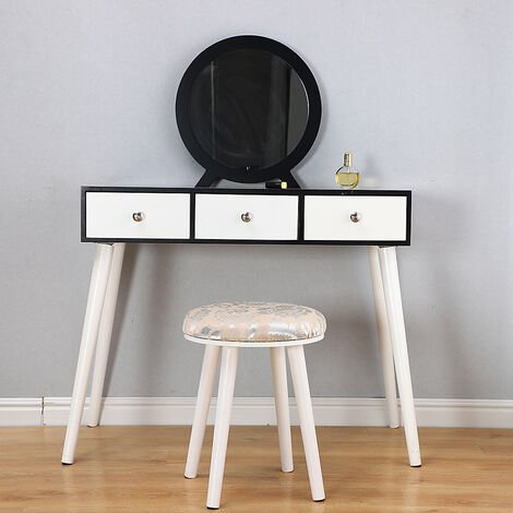 Dressing table modern style black, with stool + 3 white drawers 90 * 40 * 128CM
