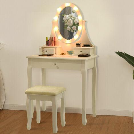 Dressing Table Set Cushioned Stool Mirror LED Drawer Modern Bedroom Makeup Desk