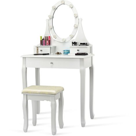 Dressing Table Set Cushioned Stool Mirror LED Drawer Modern Bedroom Makeup Desk
