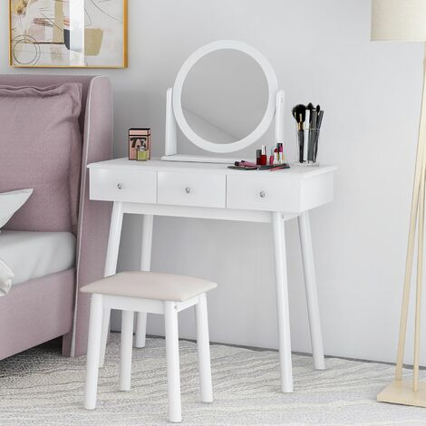 Dressing Table Set with Mirror and Stool