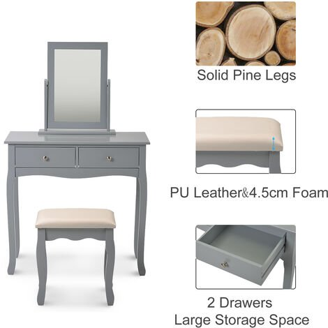 Dressing table set with mirror and stool Makeup desk dresser Gray bedroom