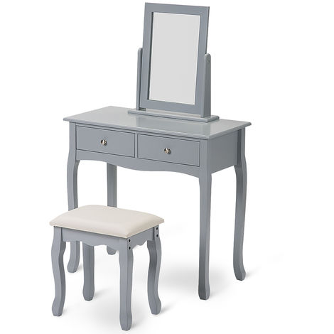 Dressing Table Set with Mirror and Stool Makeup Desk Dresser Grey Bedroom