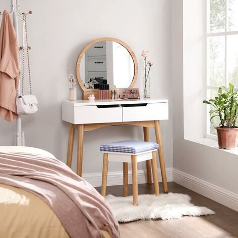 Dressing Table Set with Round Mirror, 2 Large Sliding Drawers, Cushion Stool, White and Natural RDT11K