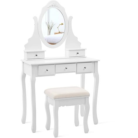 Dressing Table Set with Stool and 360 Degree Swiveling Mirror Makeup Desk 5 Drawers Vanity Furniture Easy to Assemble Bedroom White RDT09W