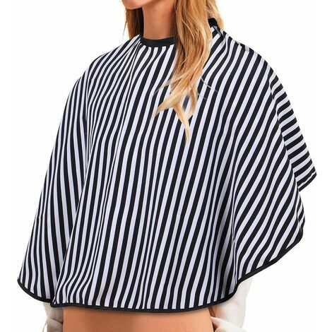 Dressing Table Shoulder Cape Professional Hairdressing Hairdressing Cape with White Stripes Black Adjustable Hairdressing Cape Waterproof Cloth Cape Hairdressing