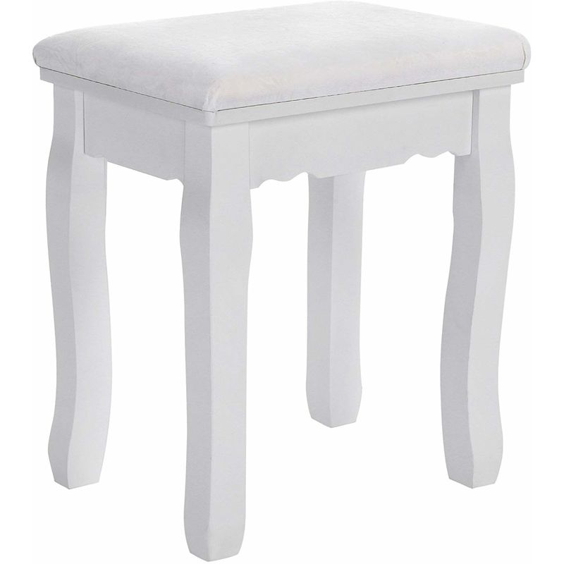 Dressing Table Stool Makeup Vanity Padded Bench Chair With Rubberwood Legs 37 X 45 Cm 130kg White Rds45w