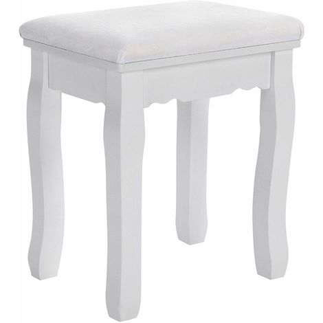 Dressing Table Stool Makeup Vanity Stool Padded Bench Chair with Rubberwood Legs 37 x 45 cm, 130KG, White RDS45W