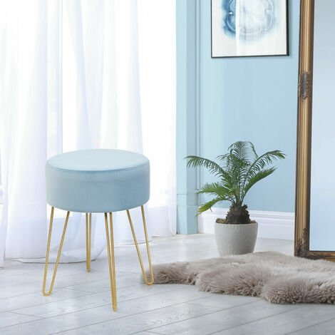 Dressing Table Stool Round Velvet Footrest Ottoman Footrest Bedroom Makeup Seat BLue