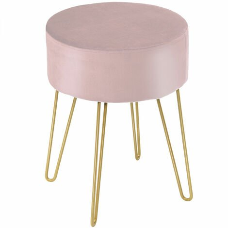 Dressing Table Stool Round Velvet Footrest Ottoman Footrest Bedroom Makeup Seat Pink