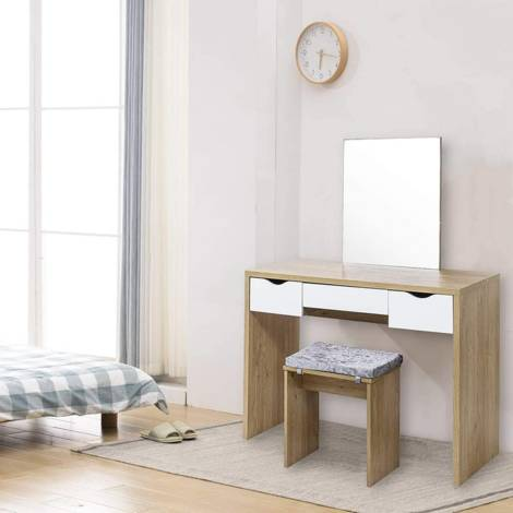 Dressing table stool with seat cushion 3 drawers oak and white