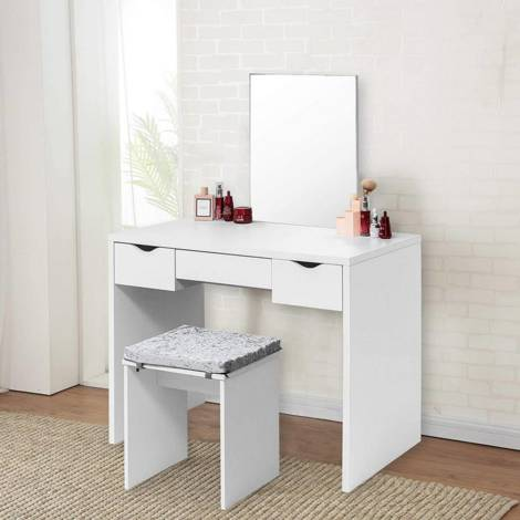 Dressing table stool with seat cushion 3 drawers white