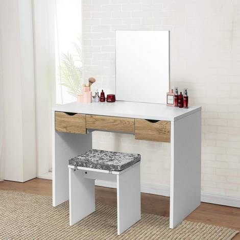 Dressing table stool with seat cushion 3 drawers white oak