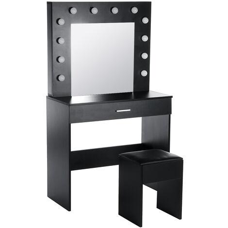 Dressing Table w/ LED Lights Set Makeup Desk + 1X Stool Mirror&Drawer Black