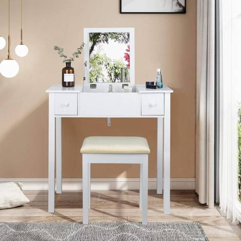 Dressing table white with folding mirrors for bedroom