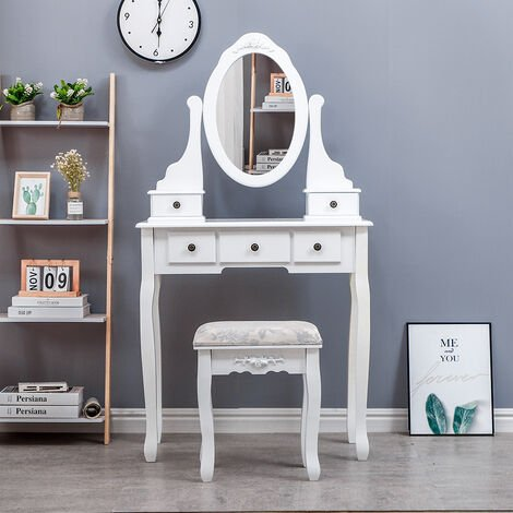Dressing table With 5 drawers, 1 stool, mirror , 75 * 40 * 138CM Make-up table