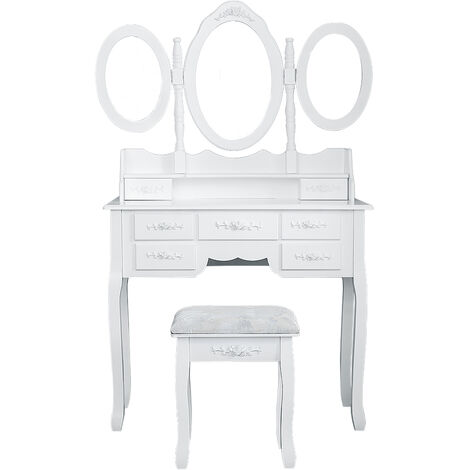 Dressing table with 7 drawers, 3 mirrors and stool antique make-up table dresser - white