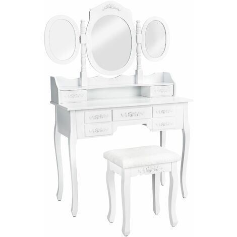 Dressing table with 7 drawers, mirror and stool in an antique look - chest of drawers, dressing table mirror, white dressing table - white