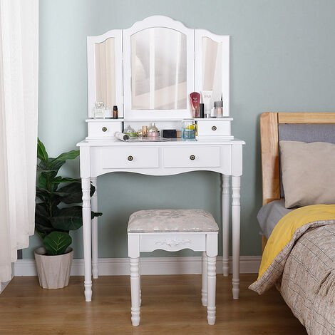 Dressing table with stool +4 drawers +3 mirror 142 * 80 * 40cm
