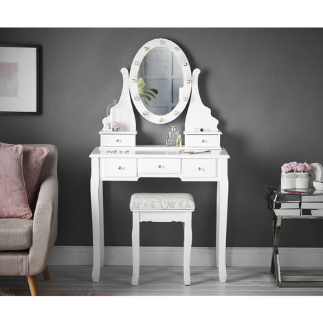 Dressing Table with Vanity Mirror LED Lights & Stool 5 Drawers Set For Bedroom Makeup Jewellery Storage
